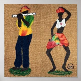 Flute Man and Dancer Poster