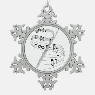 Flute Pewter Snowflake Decoration