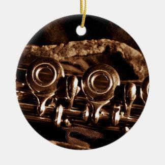 Flute Photo Round Ceramic Decoration