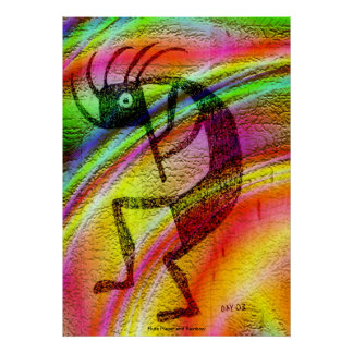 Flute Player and Rainbow Poster