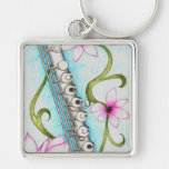Flute Silver-Colored Square Key Ring