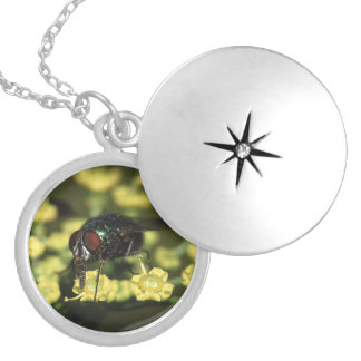 fly and flower round locket necklace