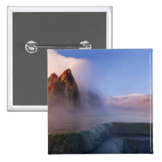 Fly Geyser with snow capped Granite Range 15 Cm Square Badge