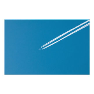 Flying airplane on a blue sky background 14 cm x 21.5 cm flyer