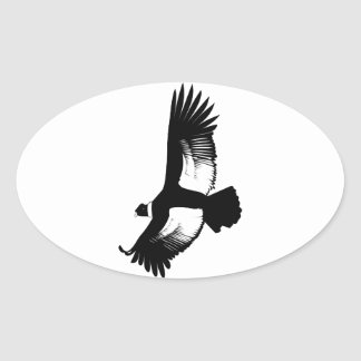Flying Andean Condor Oval Sticker
