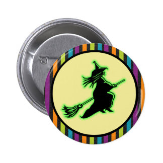 Flying Halloween Witch 6 Cm Round Badge