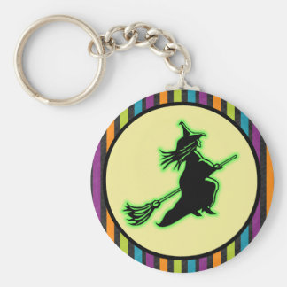 Flying Halloween Witch Basic Round Button Key Ring