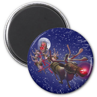 Flying Santa Claus Red Nosed Reindeer 6 Cm Round Magnet
