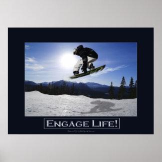 FLYING SNOWBOARDER Motivational Photo Print