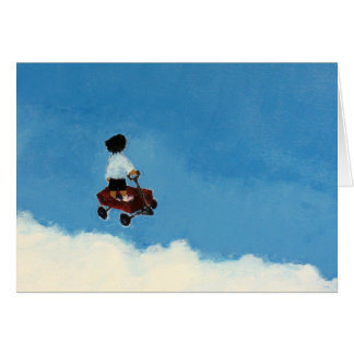 Flying Wagon Greeting Card