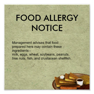 Food Allergy Notice Poster
