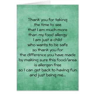 Food Allergy Thank You Card - Blank Inside