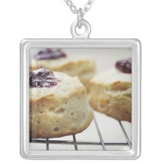 Food, Food And Drink, Buttermilk, Biscuit, Square Pendant Necklace
