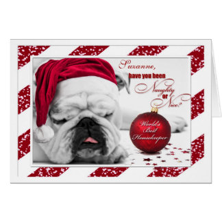for Housekeeper at Christmas Bulldog Santa Hat Greeting Card