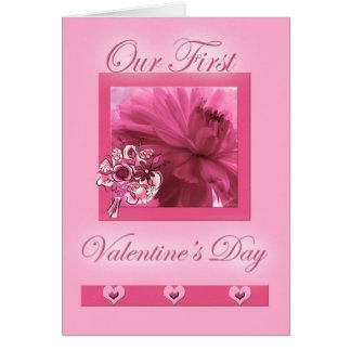 for Life Partner First Valentine's Day Pink Daisy Greeting Card
