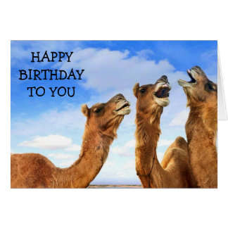 "FOR THE ""CHILD"" THESE CAMEL SING ""HAPPY BIRTHDAY! GREETING CARD"
