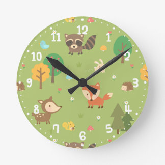 Forest Woodland Animal Pattern Kids Room Decor Wall Clocks