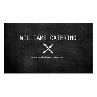 FORK KNIFE INTERSECT LOGO in WHITE on BLACK WOOD Pack Of Standard Business Cards