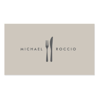 Fork & Knife Logo for Chef, Foodie, Restaurant Pack Of Standard Business Cards
