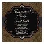 Formal Black Ribbon Brown Damask Retirement Party 13 Cm X 13 Cm Square Invitation Card