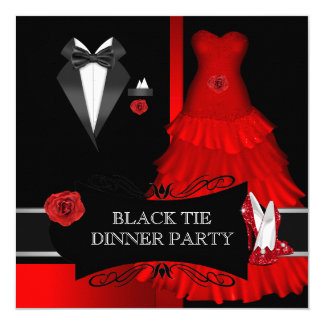 Formal Dinner Party Black Tie Red Shoe 13 Cm X 13 Cm Square Invitation Card