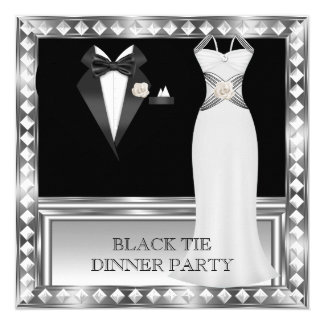 Formal Dinner Party White Black Tie Hollywood 2 13 Cm X 13 Cm Square Invitation Card