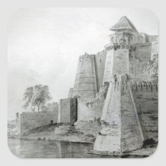 Fort on the Yamuna River, India Square Sticker