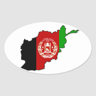 FOUR Afghanistan Flag Map Oval Sticker