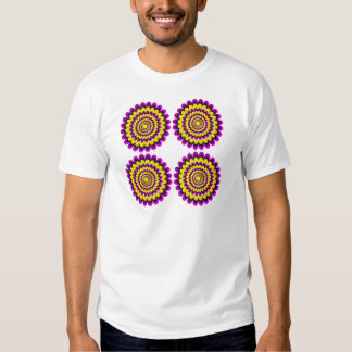 Four blooming flowers optical illusion t shirts