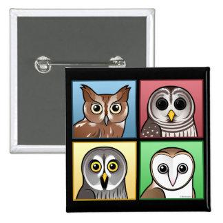 Four Color Owls (pastel) 15 Cm Square Badge