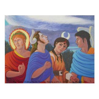 Four Deities Walking Postcard