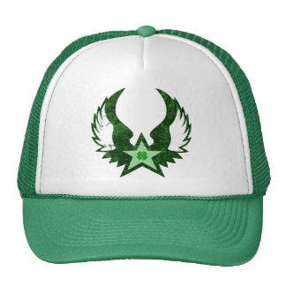 four leaf clover. winged star. cap