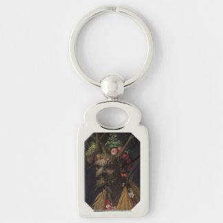 Four Seasons in One Head - Giuseppe Arcimboldo Silver-Colored Rectangle Key Ring