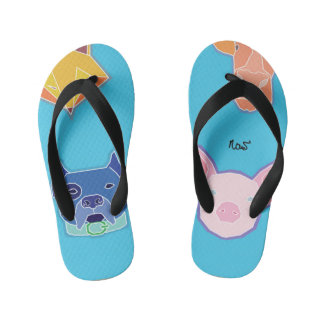 ...fox dog pig and cow flip flops
