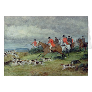 Fox Hunting in Surrey, 19th century Greeting Card