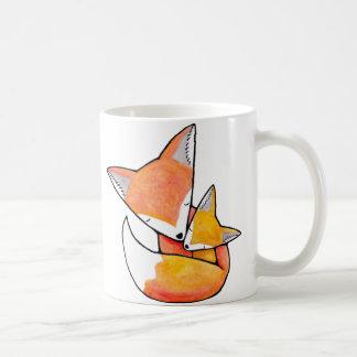 Fox Mother Child Cute Woodland Art Mug by MiKa