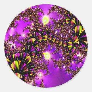 Fractal Purple Stairway to Heaven Round Sticker