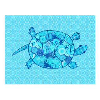 Fractal swirl turtle - cobalt and turquoise blue postcard