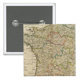 France Divided into Circles and Departments 2 15 Cm Square Badge