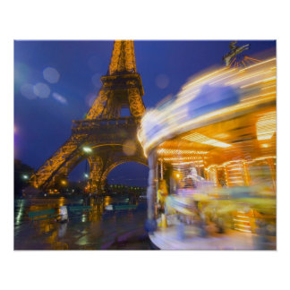 France, Paris. Eiffel Tower in twilight fog and Poster