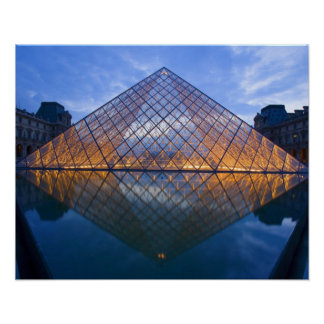 France, Paris. The Louvre at twilight. Credit Poster