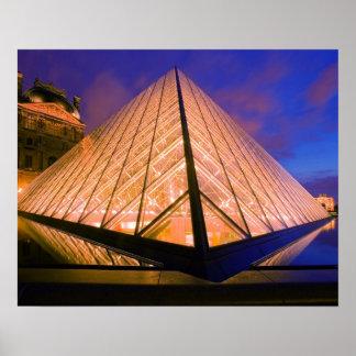 France, Paris. The Louvre museum at twilight. 2 Poster