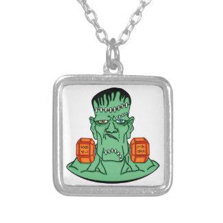 Frankenstein under weights square pendant necklace