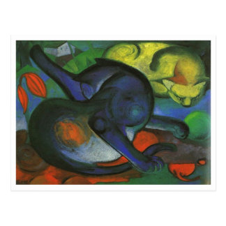 Franz Marc - Two Cats Blue & Yellow 1912 kitty oil Postcard