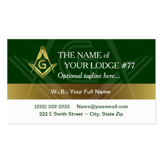 Freemason Business Cards, Masonic Green and Gold Pack Of Standard Business Cards