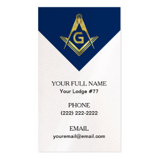 Freemasonry Business Cards, Masonic Blue Navy Gold Pack Of Standard Business Cards
