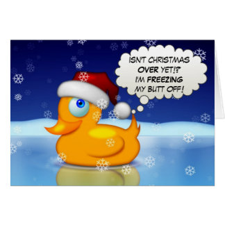 Freezing Santa Duck Greeting Card