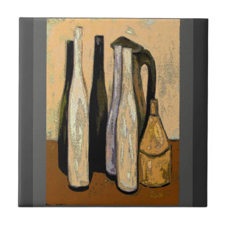 French Brown Jugs Abstract Small Square Tile