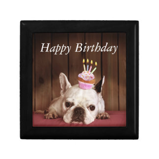 French Bulldog With Birthday Cupcake Small Square Gift Box