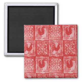French Country Grannies Old Kitchen Tablecloth Square Magnet